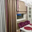 Дизайнерское оформление шторами гостиной-столовой
